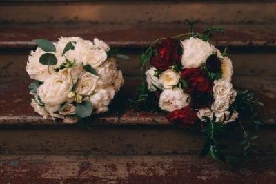 Brinkley-Serkedakis-Alicia-Francke-kim-starr-wise-Felicity-Church-12.31.17-bridal-bouquets-bride-white-peony-rose-eucalyptus-burgundy-deep-red-ranunculus-spray-rose