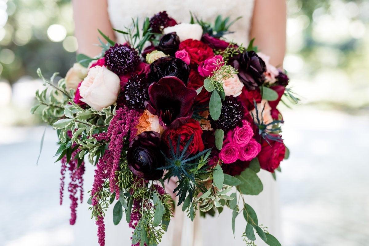 kim starr wise floral events wedding bridal bouquet wine burgundy red peach blush hot pink blue thistle amaryllis