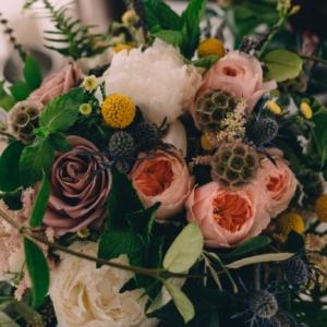 audubon park wedding ceremony Bridal bouquet juliet herb crespedia peony astilbe jasmine vine kim starr wise floral design