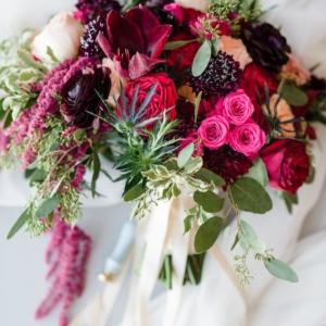 Fernanda-Parra-Farere-Dye-Lance-Nicoll-The-Westin-1.14.17-2-bridal-bouquet-hot-pink-amaryllis-astrantia-amaranthus-variegated-pittosporum-seeded-euc-scabiosa-burgundy-ranunculus-peach-red-violet