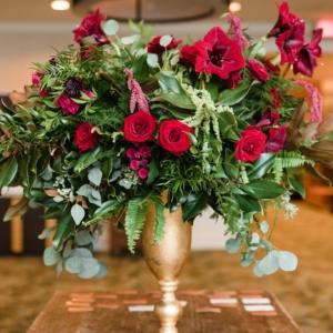 Red Flower arrangement by kim starr wise